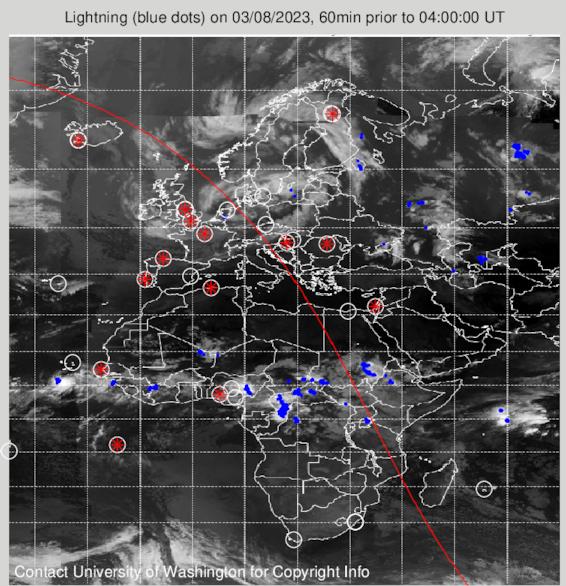 Онлайн-карта гроз. Европа, Африка, Западная Азия.